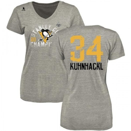 Tom Kuhnhackl Pittsburgh Penguins Women's Gray Branded 2017 Stanley Cup Champions Glove Tri-Blend V-Neck T-Shirt - Heather